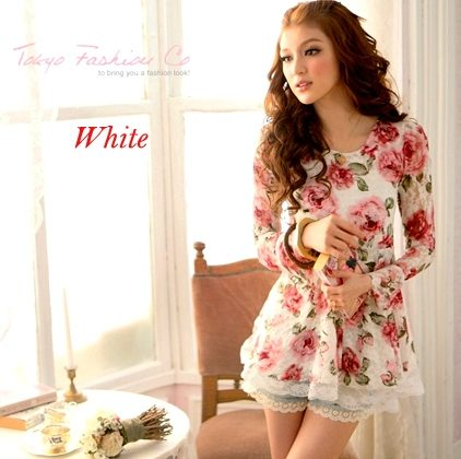 Long Sleeve Rose Flower Shirts Blouses